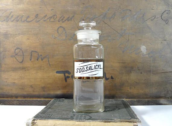 Vintage Glass Apothecary Jar / Pharmacy Bottle with Label Under Glass / Vintage Oddities