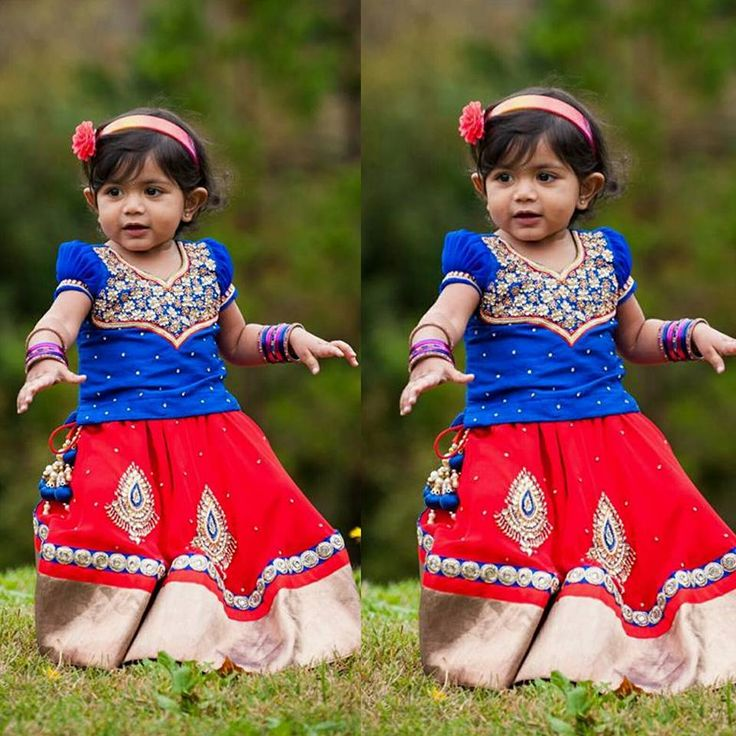 Red Lehenga Blue Work Blouse - Indian Dresses
