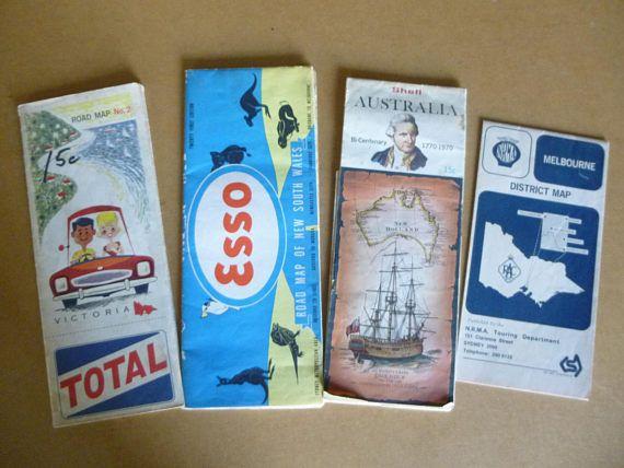 Road mapsAustralian vintage Esso NRMA Melbourne Total