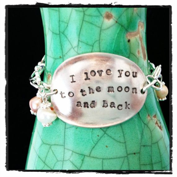 I love you to the moon and back baby spoon bracelet by erinschock, $30.00
