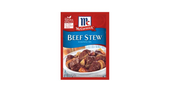 McCormick® Beef Stew Seasoning Mix is a delicious blend of spices and seasonings that you can trust to deliver the homemade taste you want, every time. For beef stew your whole family will love, McCormick® Beef Stew Seasoning Mix is the perfect choice.