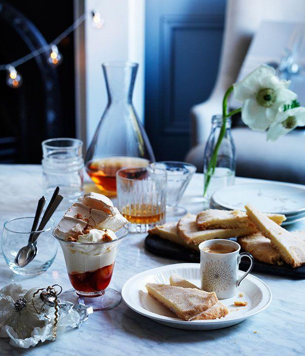 Australian Gourmet Traveller recipe for Pavlova with poached peaches and amaretto mascarpone.
