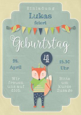 Schön Süße Einladungskarte Zum 4. Geburtstag In Pastelligem Vintage Look Für Jungs