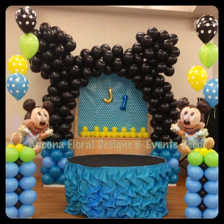 Baby mickey 1st birthday balloons decor decoraciones con for Balloon decoration for 1st birthday