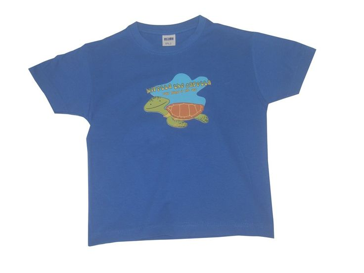 T-shirts : Niretta the Caretta, children's size. 100% semi-combed cotton. Available in yellow, pink, or blue with graphic print. Sizes: 4 yrs, 6 yrs and 8 yrs.
