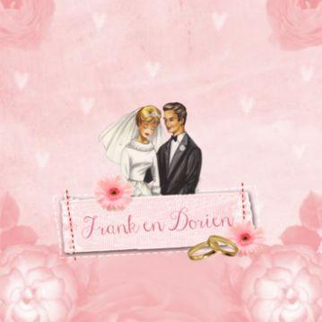 retro trouwkaart met vintage bruidspaar en trouwringen