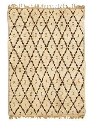 Mili Designs NYC Moroccan Beni Ourain, Cream/Orange/Brown, 5' 8