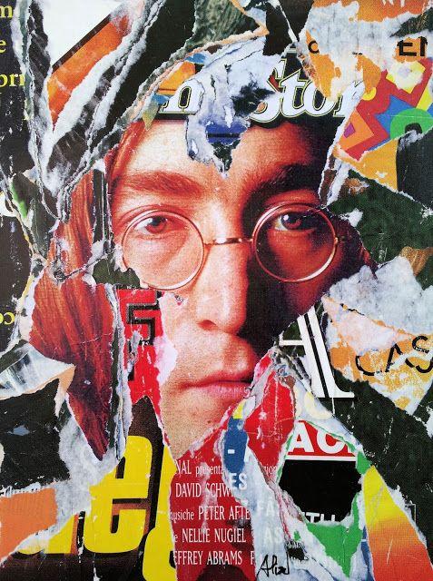 Umberto Alizzi John Lennon su Rolling Stone décollage magazine collage mimmo rotella pop art the beatles art vintage fine art manifesto poster
