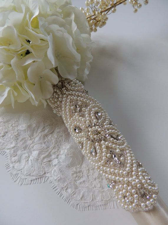 Beaded Pearl Crystal Bridal Bouquet Wrap by Tatishotties on Etsy