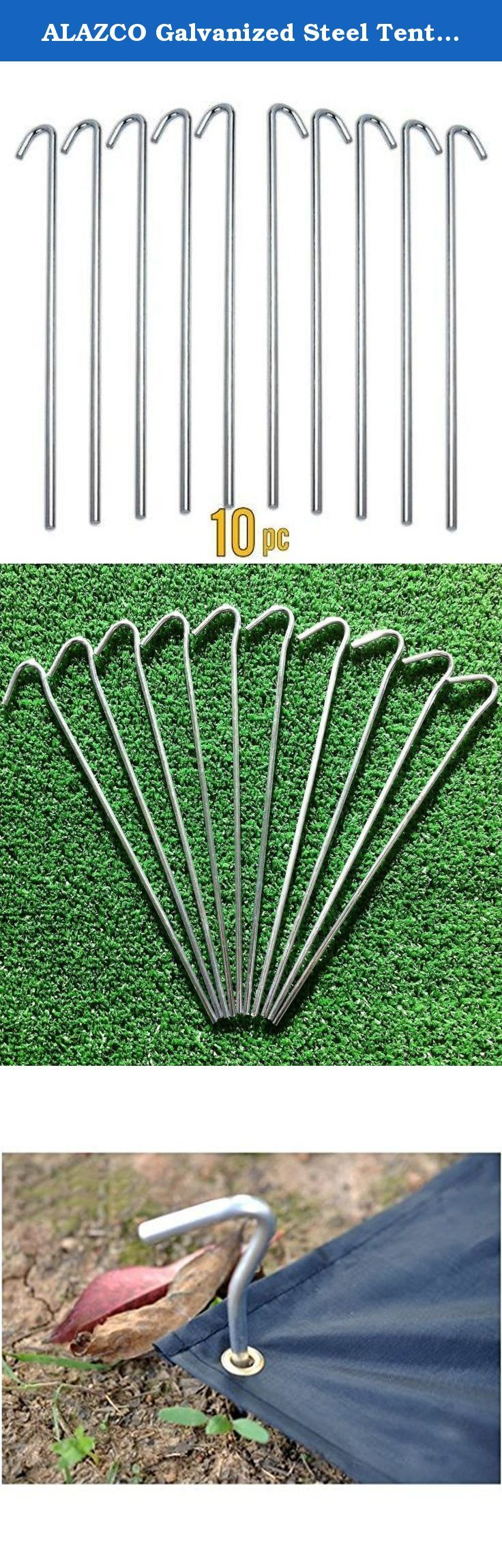 """ALAZCO Galvanized Steel Tent Pegs - Garden Stakes -Heavy Duty - Rust Free (10 pc). Perfect for anchoring tents, garden nettings & tarps to cover and protect flowers, vegetables & Landscaping or tightly secure outdoor holiday decorations!. 4mm diameter heavy duty steel rod with galvanized finish for superior rust-resistance. 9"""" length with large non-slip 1"""" hook for attaching rope or for anchoring. Each weighs just 1 ounce yet Heavy duty & unbreakable. Sold in Sets of 10 pegs - ONLY by…"""