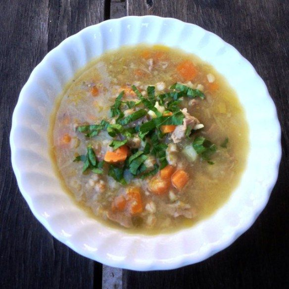 Lamb Shank and Barley Soup With Vegetables