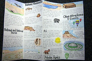 State brochure. I have done this for the past 7 years with my students and they love choosing their own state and the research. Can be a group project ( if you use big boards) or on card stock paper. I have the kids complete them so that I can hang up when parent teacher conferences comes around .