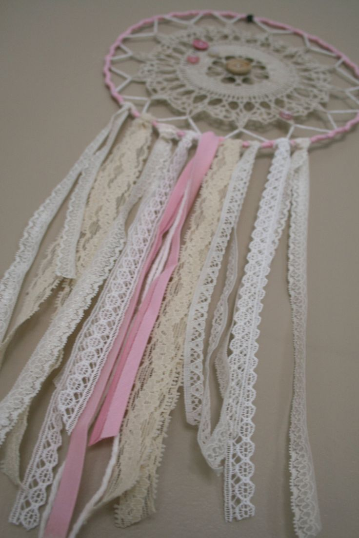 Medium Shabby Chic Dreamcatcher, Pink and White dream catcher, doily and lace dreamcatcher, Wedding dreamcatcher, boho decor by ShopTroubadour on Etsy