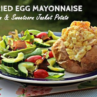 Curried Egg Mayonnaise with Ham & Sweetcorn Jacket Potatoes