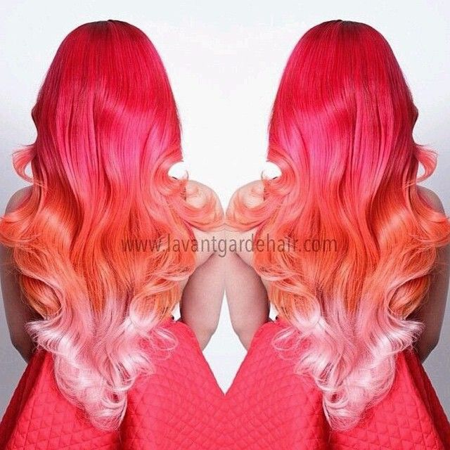 Red to Orange to Pink Ombre