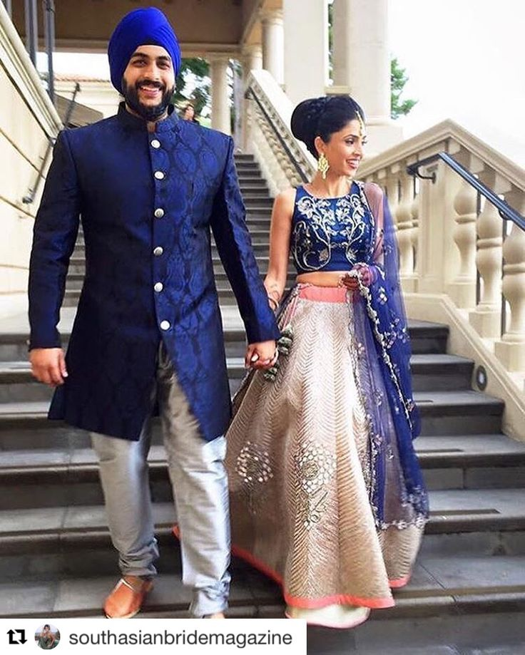 Our charming JADE bride, Payal walking down hand in hand with her beau in delight wearing this regal ensemble. #clientdiaries #jadecouture #indianbrides #bridalfashion #weddings #monicakarishma