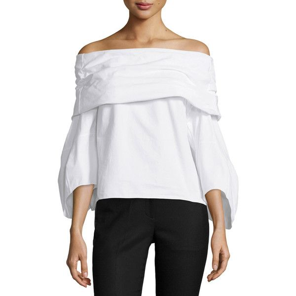 Rosie Assoulin Off-the-Shoulder Poplin Top ($995) ❤ liked on Polyvore featuring tops, blouses, white, off shoulder blouse, white off shoulder blouse, white pleated blouse, white bustier and white 3/4 sleeve blouse