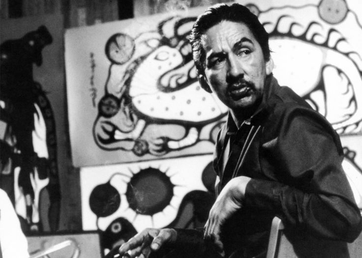 "Still image of Morrisseau from ""The Paradox of Norval Morrisseau,"" directed by Henning Jacobson and Duke Redbird, 1974. #ArtCanInstitute"
