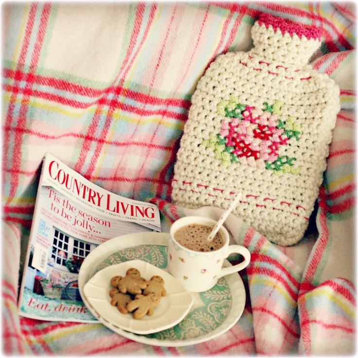Coco Rose Diaries: Crochet Hot Water Bottle Cover with cross stitch detail