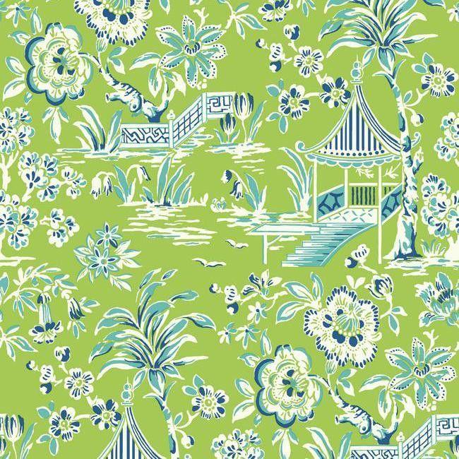 Tahiti Scenic Wallpaper in Green design by York Wallcoverings