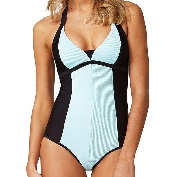 Moontide Jacquard Stripe Sky Blue swimming costume