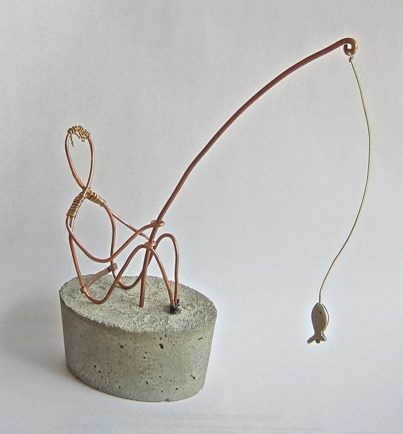 Gone Fishing wire sculpture by ESMetalworks on Etsy