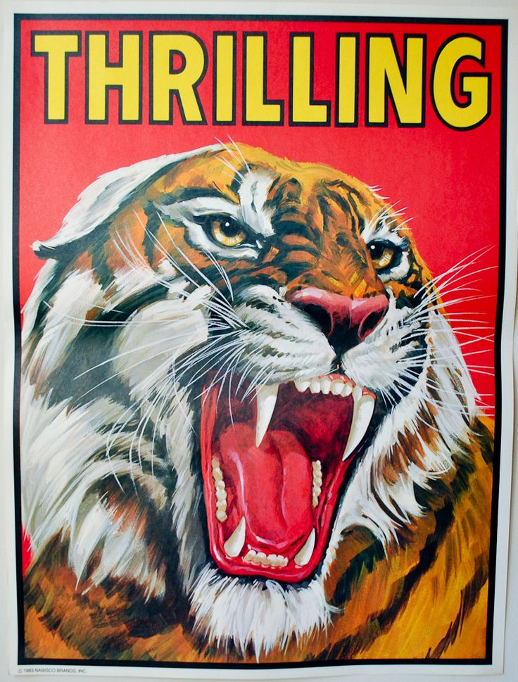 vintage circus poster - 'THRILLING' tiger