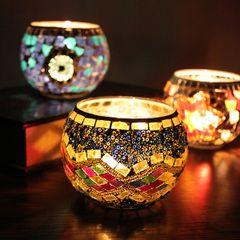 Бар западный стиль подсвечники стеклянная мозаика свечи чашки свечи чашки ужин при свечах партия стол украшения