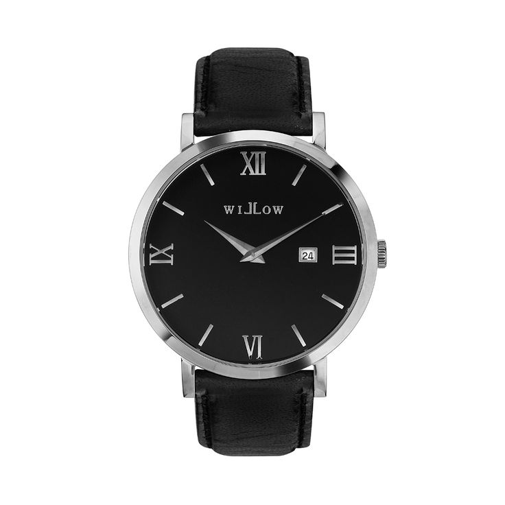 Treviso Silver Watch & Interchangeable Black Leather Strap.
