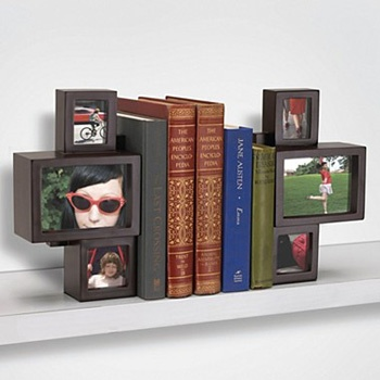 These uniquely designed bookends are sure to get attention. You can now show of your book collection with your photos. Each bookend can hold three photos. So, with a set of two you can show off 6 photos. The design allows them to sit on the shelf ledge.