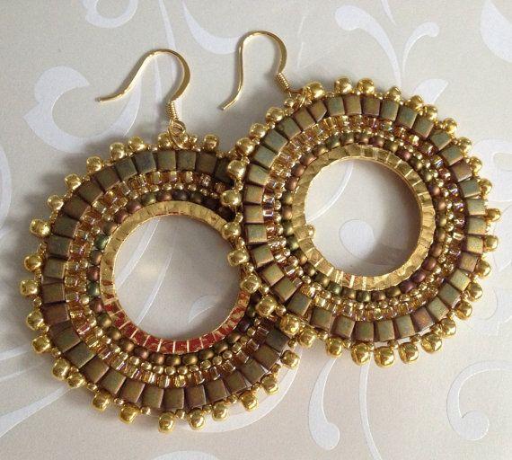 Gold Beaded Hoop Earrings GOLDEN GODDESS Seed Bead by WorkofHeart