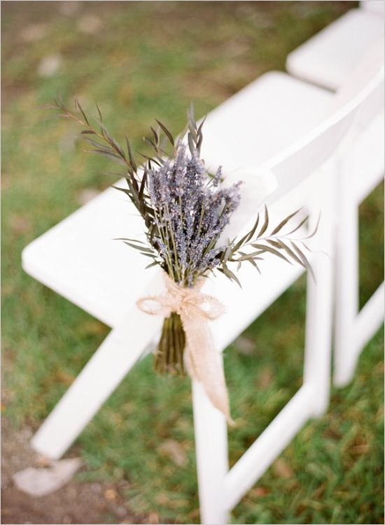 lavender aisle decor for rustic wedding ceremony
