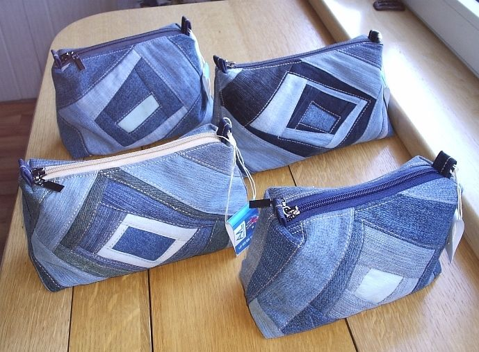 denim cosmetic bags