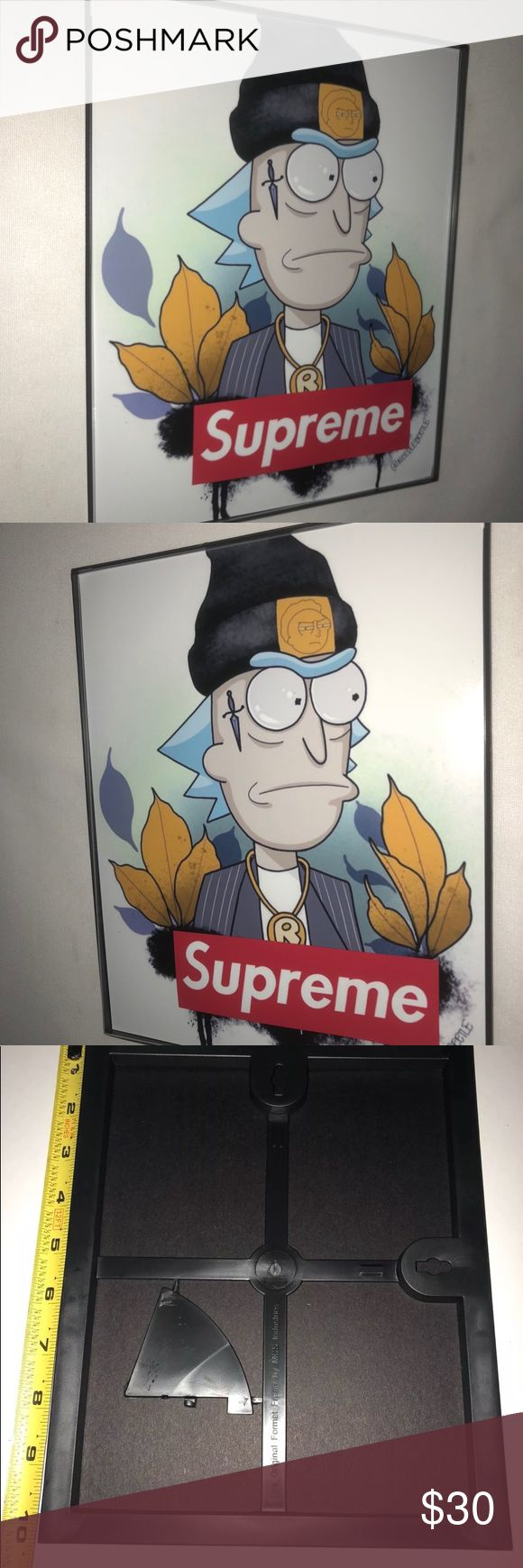 "Supreme art print with borderless frame Supreme , bape art print with borderless frame , 8"" inches x 10"" inches , not a poster , not cheap card stock 🤮, this is on semi luster art paper , uv - 75 year minimum inks. Won't fade , like cheap copies 🤩! The idea is to have multiple art pieces , google wall art collage .  This is 2017 decor add these to your own home art . Ready to hang out of the box , or use your own frames ! Supreme Other"