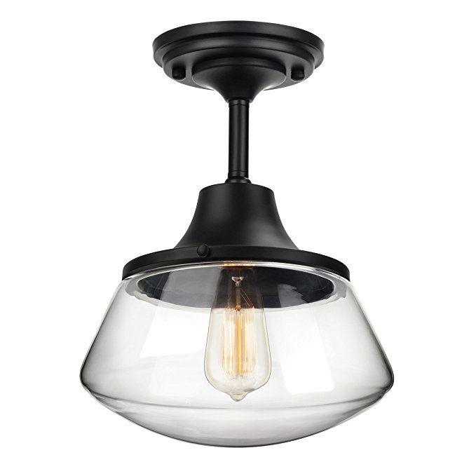 Petronius Industrial Semi Flush Mount Ceiling Light Clear Glass Pendant Lighting Shade Edison Vi Vintage Light Fixtures Vintage Lighting Vintage Lighting Diy