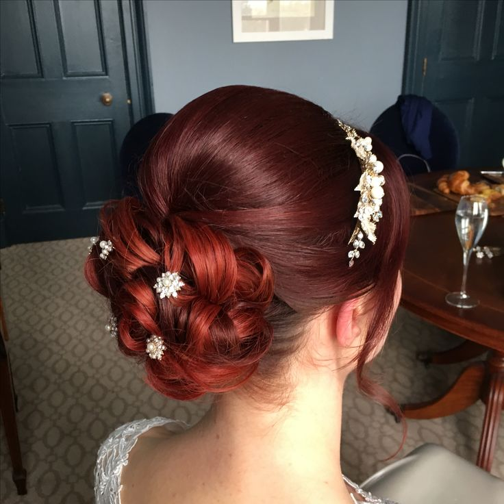 Red hair bride hair up for wedding day