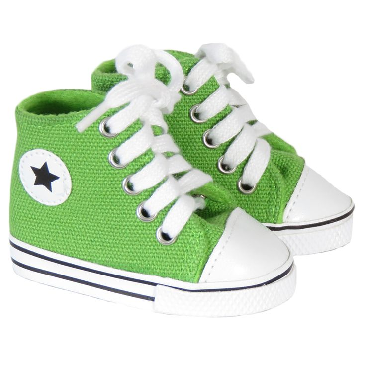 American Girl or Boy Doll  Shoes - Silly Monkey - Green Star High-Top Sneakers, $7.00 (http://www.silly-monkey.com/products/green-star-high-top-sneakers.html)