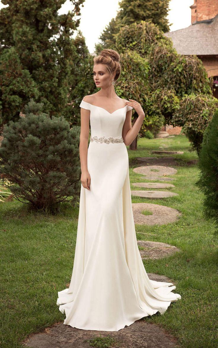 US$$119.88 – Off the Shoulder Sheath Wedding Dress with Crystal Detailing. www.d…