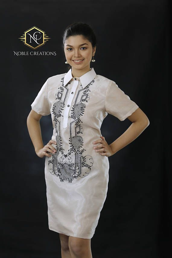 ab8c1bf81ae Modern FILIPINIANA Dress Silk BARONG TAGALOG Philippine ...