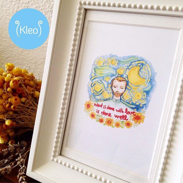 """What is done with love is done well.""Van Gogh İllüstrasyonu kleo.sopsy.com'da!✨ #kleodesign #handmade #handdrawing #handmadewithlove #vincentvangogh #vangogh #illustration #drawing #qutoes #drawing #çerçeve #framedartwork #artwork #art #craft #inspiration #sunflower #illüstrasyon #çizim #cizim #yellow #watercolor #watercolorart #watercolorillustration #suluboya #wallart"