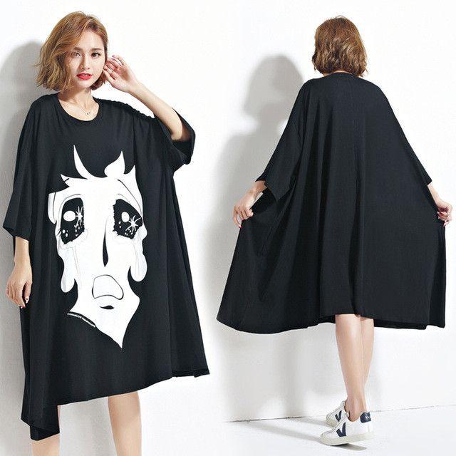 DIMANAF Women Summer T-Shirt Plus Size Cartoon Print Cotton Female Casual Lady Trend Large Size Black Fashion Batwing T-Shirt