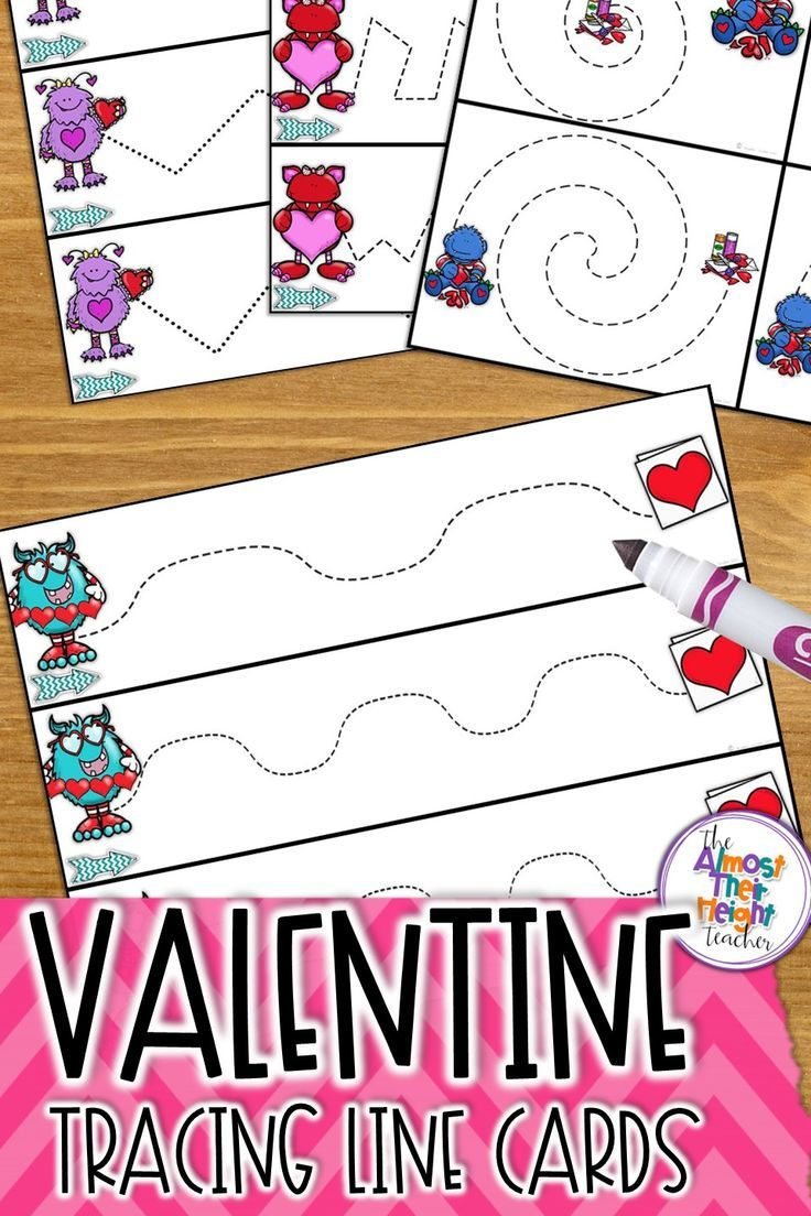 Developing fine motor skills, pencil control and path of motions with these valentine themed tracing line cards.  An important part of pre-writing and writing development is knowing how to hold and use a pencil and our beginner writers need plenty of practice with this skill.  Check out this and my other tracing line packs.  #valentine #valentineintheclass #finemotorskill #pencilcontrol #pencilskills #tracinglines #teacherspayteachers