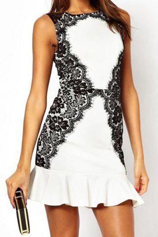 Short Sleeve Color Block Lace Embellished Floral Print Women's Dress Bodycon Dresses   RoseGal.com Mobile