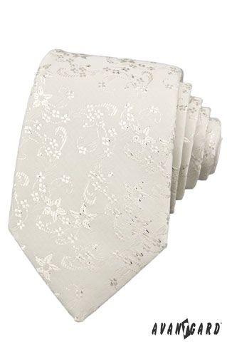 Smetanová svatební kravata s lesklým květinovým vzorem  d5b40aaa21