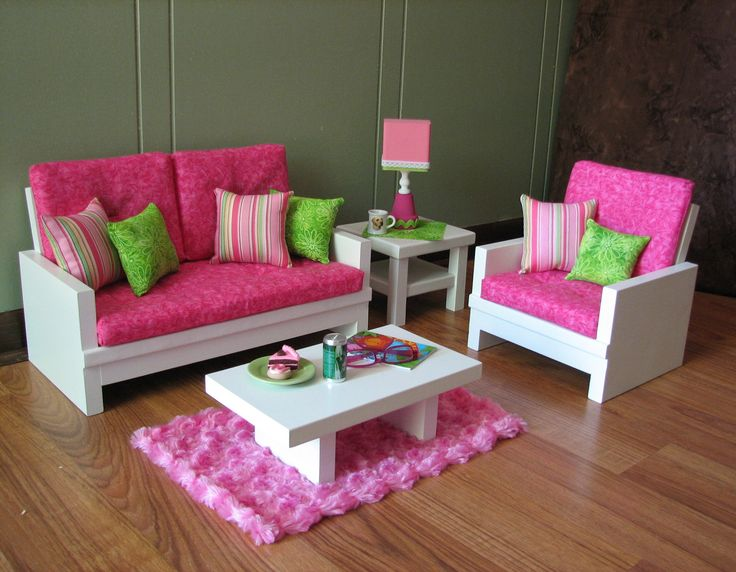 """18"""" Doll Furniture - American Girl sized Living Room - Loveseat / Chair / Coffee Table / End Table / Lamp / Rug. $165.00, via Etsy."""