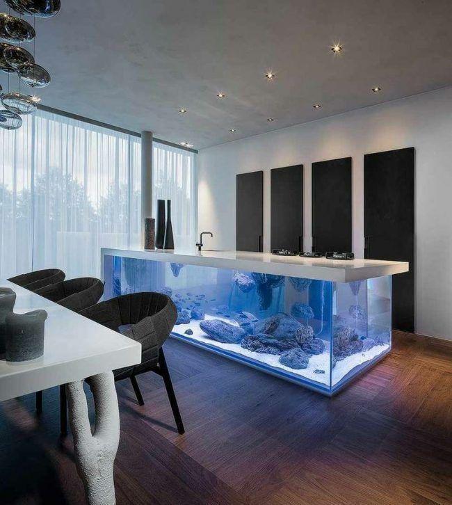 Ideal aquarium ideen kuecheninsel platte weiss blau licht
