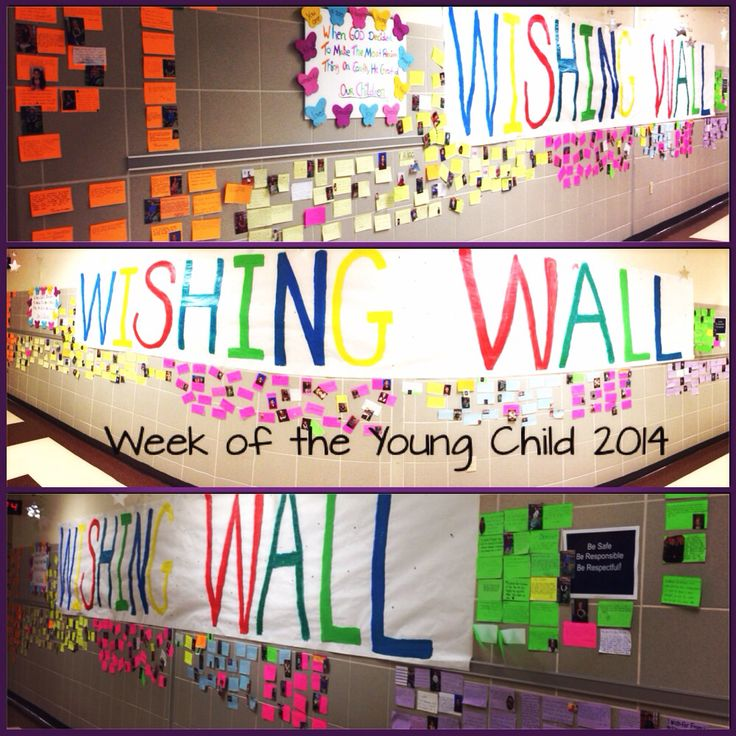 """Week of The Young Child """"Wishing Wall"""" Parents wrote their """"wishes"""" for their children  on an index card (some attached a picture) and placed them on along this wall.  SUPER CUTE!"""