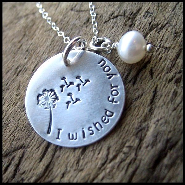 I Wished For You Hand Stamped Sterling Dandelion Necklace by WordsToWear Jewelry, $27.00