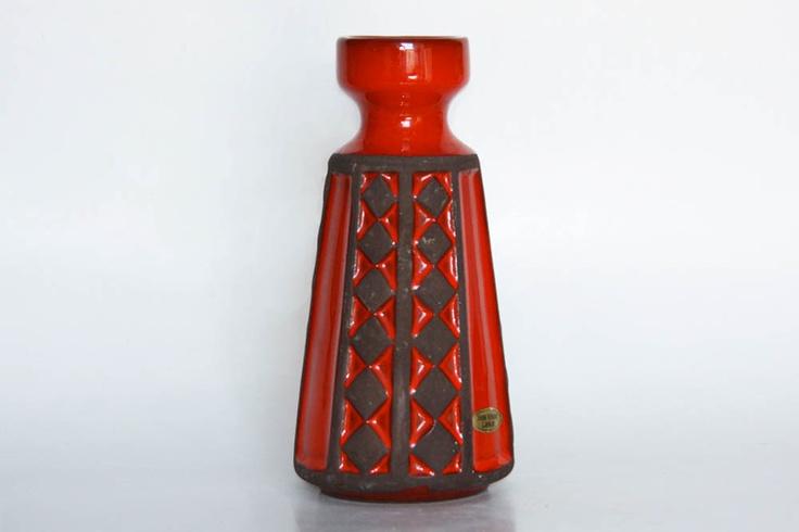 Vintage Danish Ceramic Red Vase - Frank Keramik. $72.00, via Etsy.