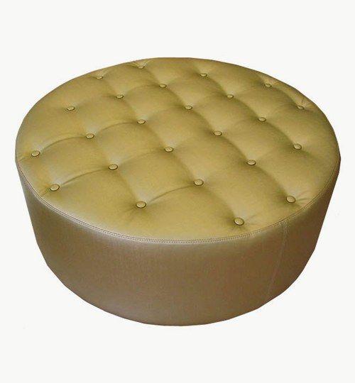 """Specialtillverkad sittpuff, diameter 100 cm, sitthöjd 43 cm, """"Dolda ben"""" höjd ca 2,5 cm. Konstläder i färgen gul."""
